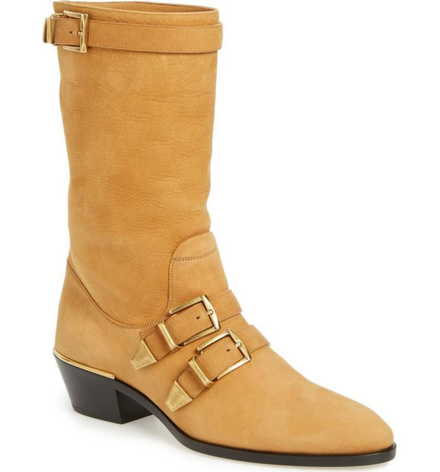 NIB CHLOE Susanna Buckle Strap Mid Calf Boot Tan Brown Suede Low Heel Sz 38.5