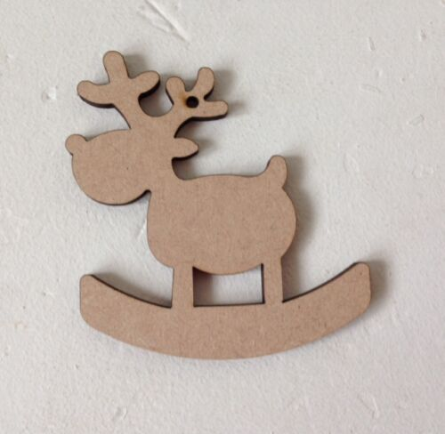 50 x ROCKING REINDEERS Xmas Wooden MDF Blanks Christmas Craft Gift Tags 9cm