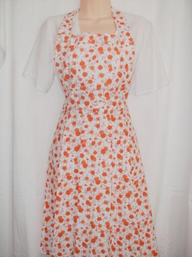 Orange Border Print Vintage Style Cotton Apron With Pleated Skirt