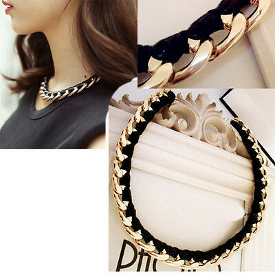 Fashion jewelry gold chain black leather necklace women vintage pendant e
