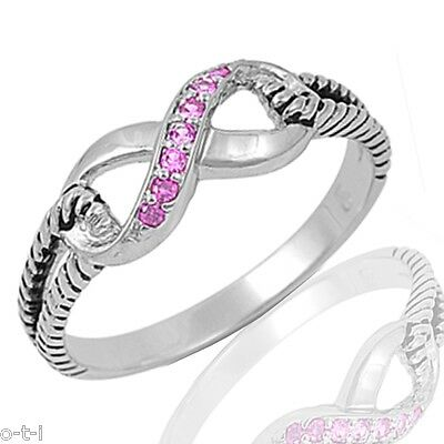 Pink Sapphire CZ Infinity Design Genuine Sterling Silver Ring , Size 3 - 12