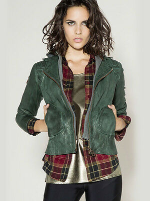 NWT Doma Hooded Biker Jacket in Bottle Green celebrites favorite