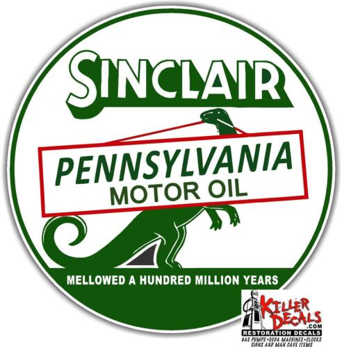 """6/"""" SINCLAIR MOTOR OIL LUBSTER OIL CAN GASOLINE GAS DECAL SINC-9"""