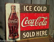 COCA COLA SOLD HERE Tin Metal Classic Sign Wall Bar Garage Decor Store Vintage