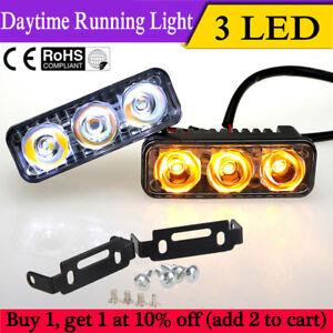 2x-3-LED-Coche-DRL-Luz-Diurna-Lampara-Conduccion-Dia-Luz-Amarilla-De-Senal-De-Vuelta