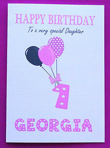 Personalised 1st Birthday Card Baby Girl Balloons First Birthday