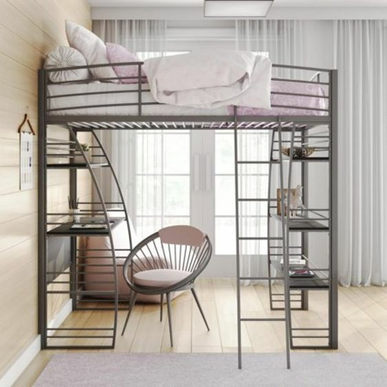Modern Studio Gray Twin Loft Bunk Bed Frame with Under Bed Desk and Shelves