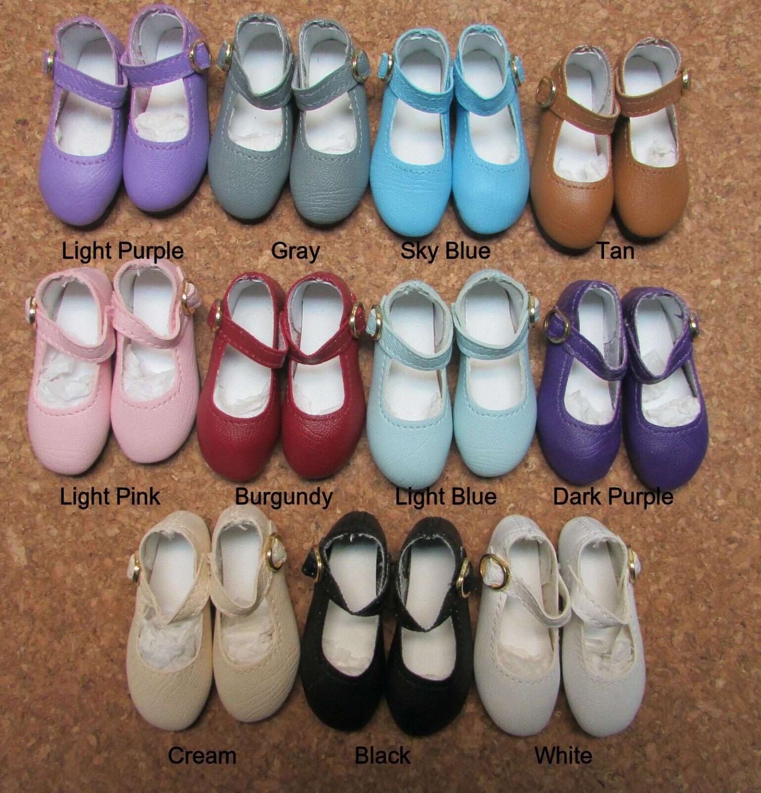 55mm SLIM Light Blue Classic Ankle Strap Doll Shoes PLEASE READ DESC - RRFF
