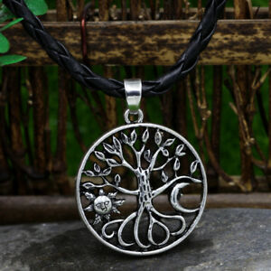 Men-039-s-Vintage-Silver-Norse-Viking-Sun-Moon-amp-Tree-of-Life-Pendant-Necklace-Amulet