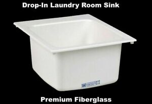 DROP-IN-LAUNDRY-ROOM-SINK-White-Self-Rimming-Countertop-Mounted-20-034-L-x-17-034-W