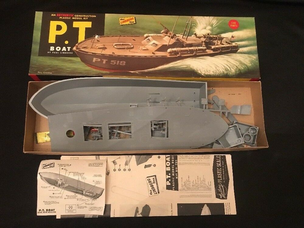 Rare  1954 Paul Lindberg Line PT-518 TORPEDO BOAT Model Kit 701 198 Motorized