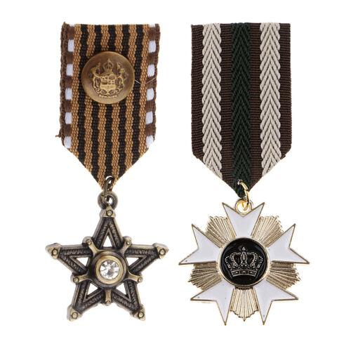 2pcs Retro Military Uniform Medal Streampunk Gothic Brooch Badge Pin Charms