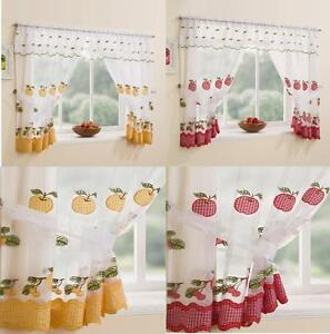 Winchester-Kitchen-Gingham-Curtain-Window-Set-Inc-Valance-amp-T-Backs-Red-Yellow