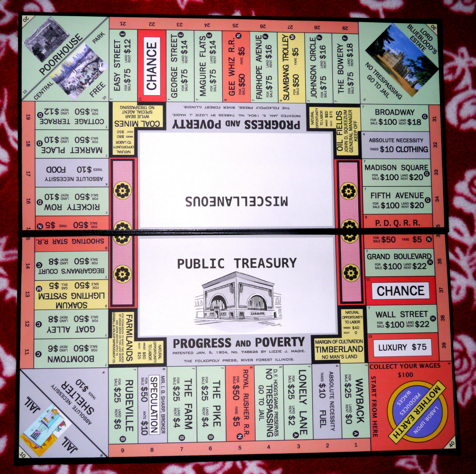 Progress and PoGrüny  Game Set, 1906 Style Repro The Landlord's Game (Monopoly)