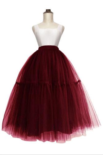 Layers Women Midi Tulle Tutu Skirt Petticoat Crinoline Wedding Bridal Ball Gown