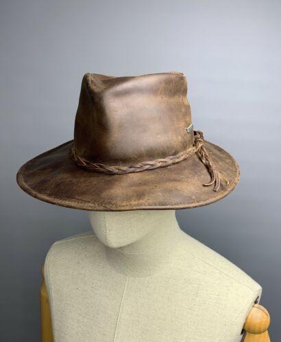 LAGOMARSINO Brown Leather Hat Size 57 Travel Safar