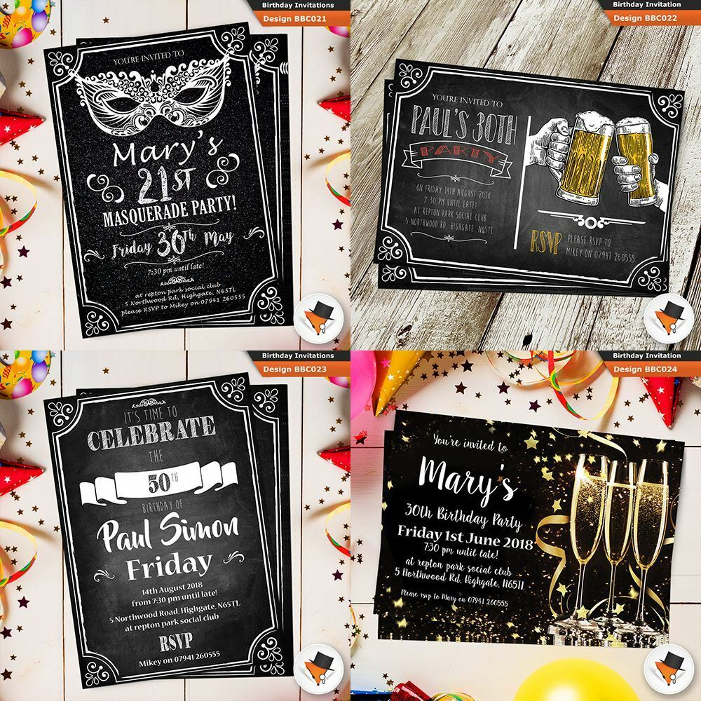 Birthday Party With Invites Envelopes 18th 21st 30th 40th 50th 16th