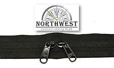 Genuine YKK Nylon Coil Zipper Tape # 5  Black 10 yards with 10 Reverse Sliders
