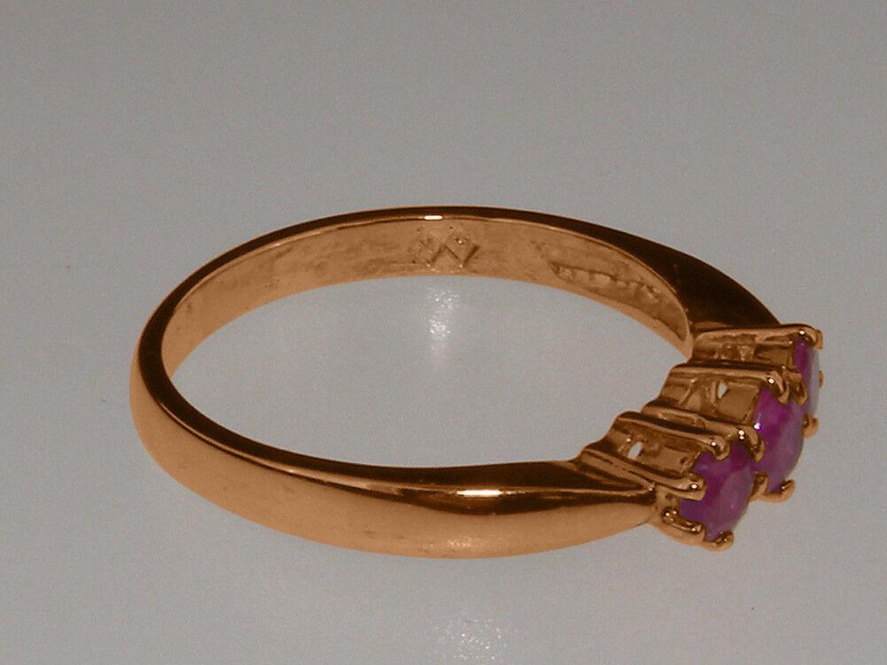 Solido 9ct rosa oro oro oro Naturale Rubino Da donna trilogia anello-Taglie J a Z d68ad4