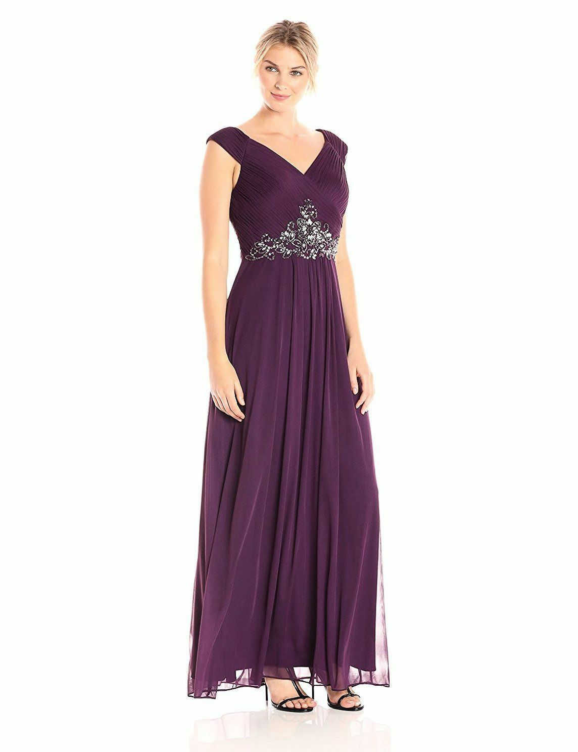 580 ALEX EVENINGS Women PURPLE A LINE PLEATED BODICE BEADED GOWN DRESS SIZE 10