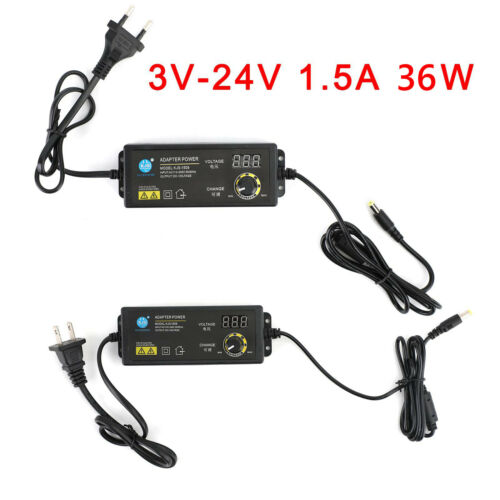 Adjustable Voltage 3-24V 1.5A Power Supply Adapter AC//DC Switch w// LED Display