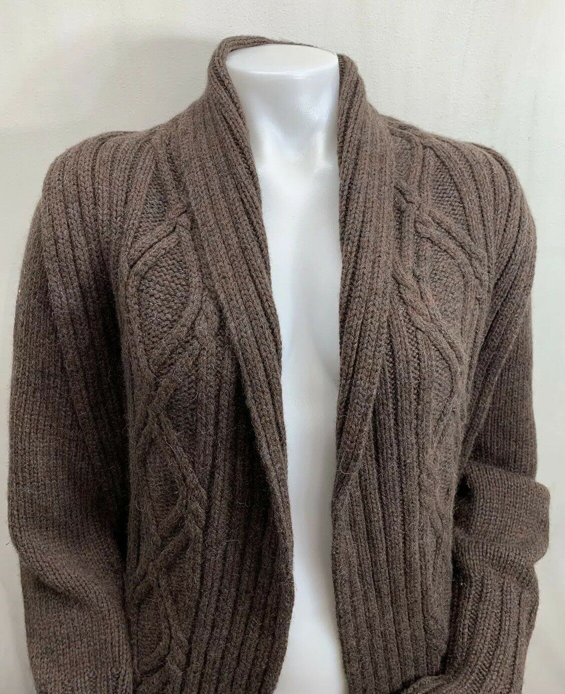 Inis Meain Wool Alpaca Cashmere Brown Knit Open F… - image 2