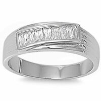 Best Seller Men's Baguette Wedding Band .925 Sterling Silver Ring Sizes 9-13