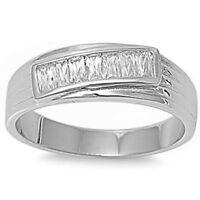 Best Seller Men's Baguette Wedding Band .925 Sterling Silver Ring Sizes 9-13