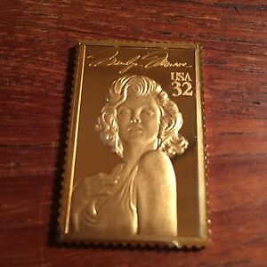 Marilyn Monroe Hollywood Legends Usps Vintage Gold Plated