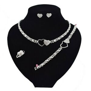 11-HUGS-amp-KISSES-Necklace-With-Bracelet-18-034-Xo-Earrings-Ring-size-9-silver