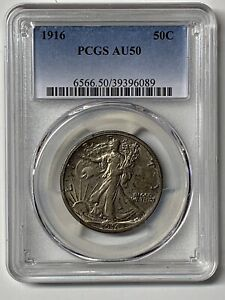 1916-Walking-Liberty-Silver-50C-Key-1st-Year-Date-US-Coin-PCGS-AU50