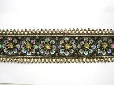 Edle Handbestickte Borte Schwarz Grau Gold BO-EB-1397