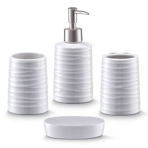 Zeller bathroom accessories 4 part set ceramic white for Ceramic bathroom bin