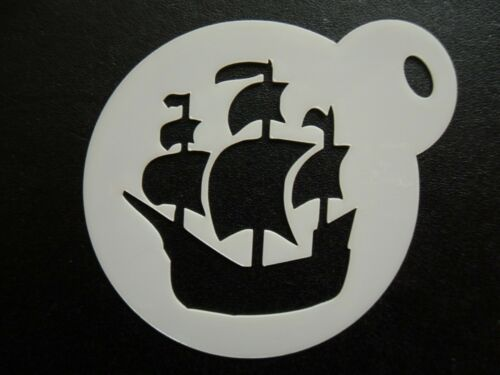 craft /& face painting stencil cookie 60mm pirate ship design cake