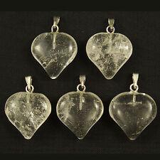 5 Rock Crystal Quartz Gemstone Puff Heart Charm Pendants 18mm