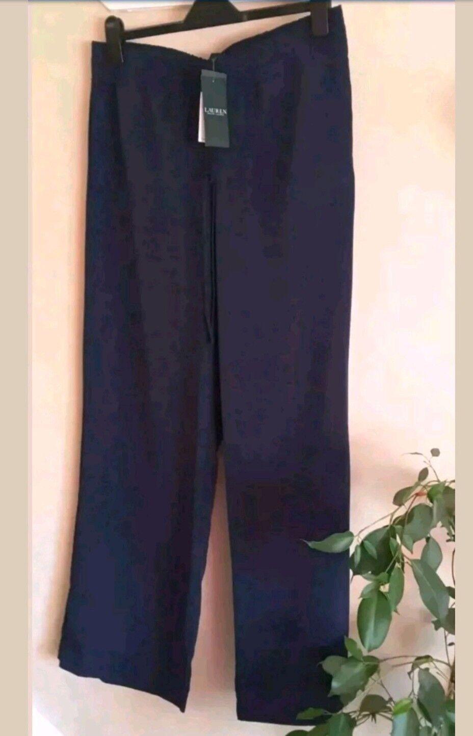 Ralph Lauren gamba larga Palazzo pantaloni colore blu navy, seta al tatto Taglia 14 NUOVO PREZZO CONSIGLIATO