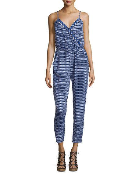 Laundry by Shelli Segal geometric-print jumpsuit bluee Beret Women's size 4
