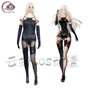 Image is loading New-NieR-Automata-A2-Uniforms-Sexy-Black-Cosplay-