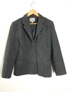 White Heather Vintage AU MADE Tweed Grey Pure New Wool Jacket Women's Size 12