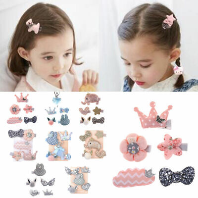 5Pcs//set Hairpin Baby Kids Hair Clip Bow Flower Mini Barrettes Cute Girls Infant