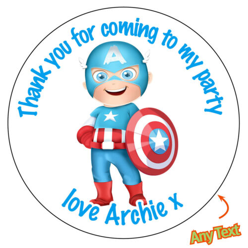 Personalised CAPTAIN AMERICA inspired Stickers Birthday Topper Badge Bag 095
