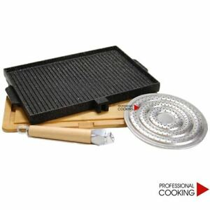 Platte-Steak-Grill-Rechteckig-Pietra-Lava-Flamme-Streuer-Hackbrett-cm-37x25