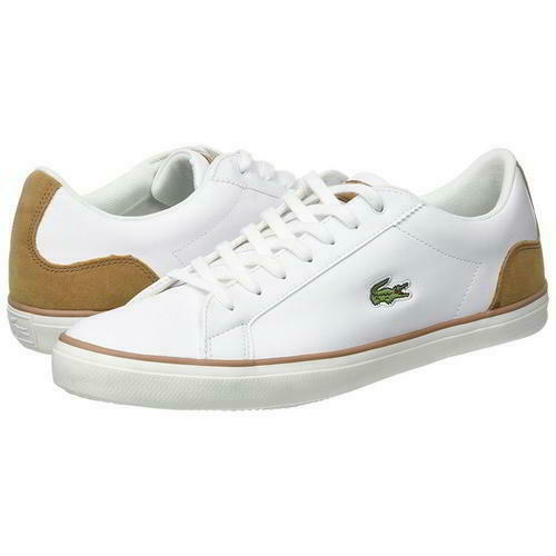Lacoste Lerond 118 1 Mens White Leather Lace Up Trainers shoes Size UK 7