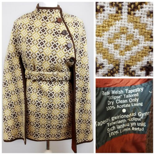 Tailored Cape Pure New Blogger Tapestry Eclipse Vtg Real Wool Coat 100 Welsh HnwSU