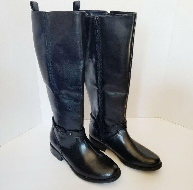 NEW Clarks Sz 8.5M Plaza Market Riding Boots Black Leather Tall No Box READ