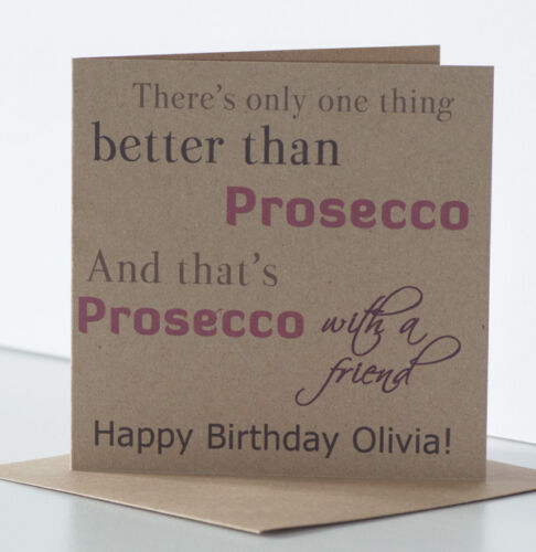 Special best friend. Personalised Birthday Card Female Friend Prosecco theme