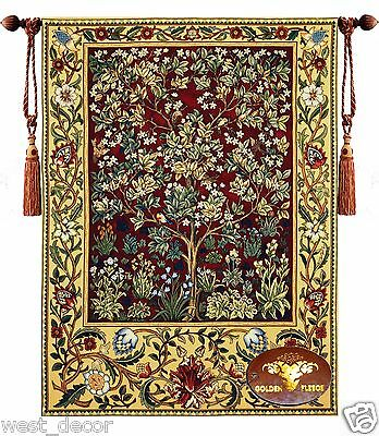 WILLIAM MORRIS TREE OF LIFE M Jacquard WOVEN WALL HANGING TAPESTRY rug Garden x
