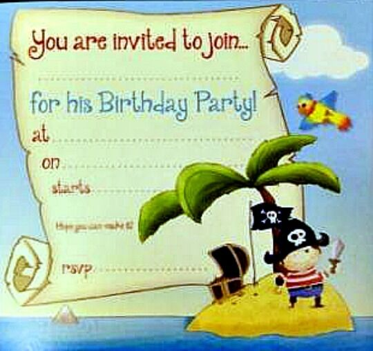 16 boys PIRATE CAPTAIN PARTY INVITES CARDS blue envelopes birthday CHILDREN