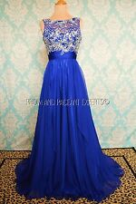 Blue Evening Pageant Homecoming Prom Formal Long Ball Gown Gala Dress M 6/8