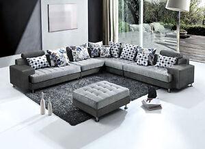 Dettagli su Divano angolare 325x250 pouf in microfibra moderno grigio  soggiorno divani 789